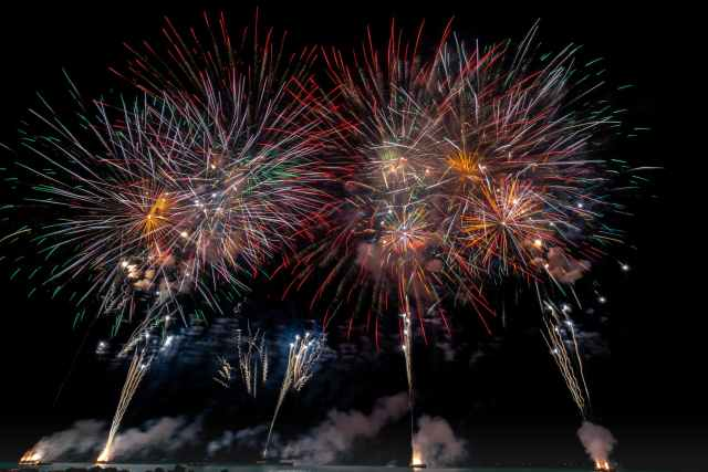 multicolored fireworks on night sky